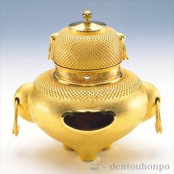 東京銀器(金銀工芸) 純金 風炉 茶釜セット 3900g